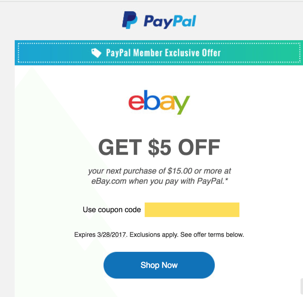 Discount coupon for ebay in