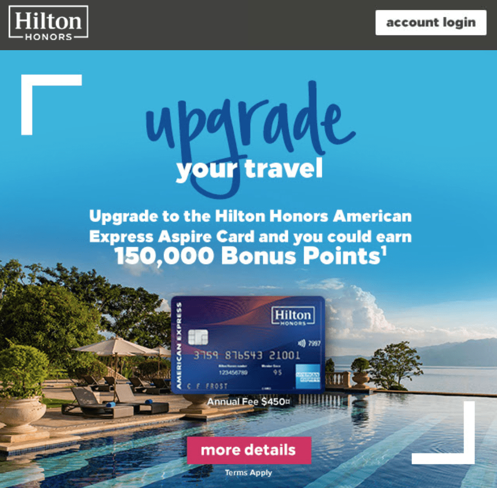 Targeted] Get 150,000 Points for Upgrading To Hilton Aspire