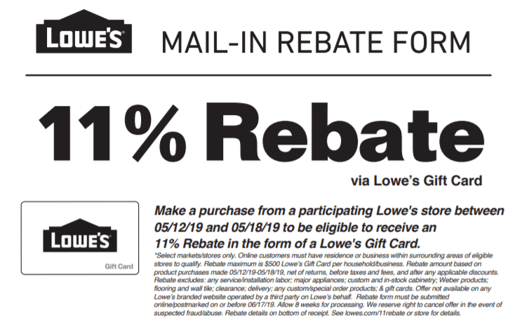 Lowe's Rebate Promotion: Get 11% Rebate w/ Purchases (Up to $500)